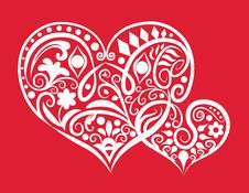 Free Two Hearts Ornament Royalty Free Stock Photo - 23821195