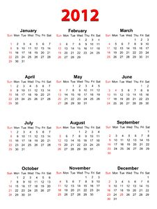Free Calendar For 2012 On White, Vector Format Stock Photography - 23823122