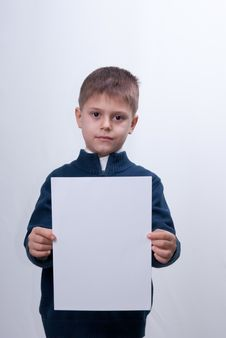 Free Child With The White Sheet Of Paper Stock Photos - 23823223