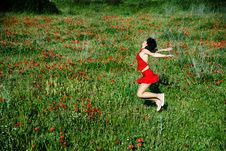 Free Happy Woman Jumping In Poppy Field Stock Photos - 23824743