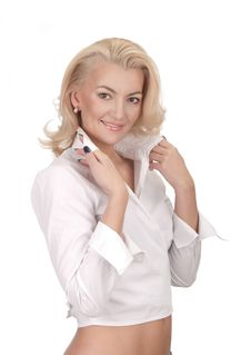 Free A Beautiful Young Woman In White Shirt Royalty Free Stock Images - 23826049