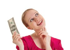 Free Cheerful Dreamy Girlholds The Money Stock Photos - 23826253
