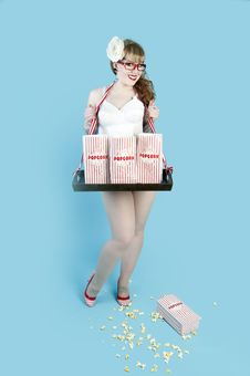 Free Popcorn Girl Stock Photography - 23829642