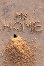 Free Crab Hole And A Pile Of Sand With Words My Home Stock Images - 23837224
