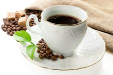Hot Coffee, Coffee Beans  And Brown Sugar . Stock Photography