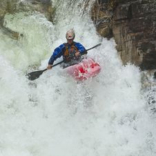 Kayaker In The Waterfall Stock Image