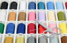 Free Colorful Sewing Threads With Scissors And Needle Stock Photography - 23837572