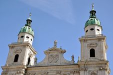 The Baroque Dome Cathedral Of Salzburg, Austria Royalty Free Stock Photos