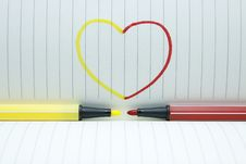 Free Color Pen In Love Stock Images - 23840364