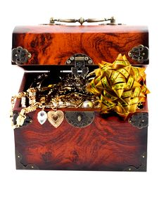 Free Bow In Treasure Chest Royalty Free Stock Photos - 23844298