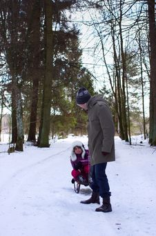 Free Father With Daughter In Winter Fun Royalty Free Stock Photo - 23848885