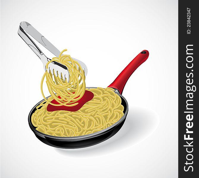 Italian pasta spaghetti in the frying pan. Vector