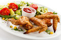 Free Roasted Chicken Wings Stock Photography - 23852452