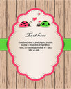 Free Wooden Card With Ladybirds In Love. Royalty Free Stock Image - 23856956
