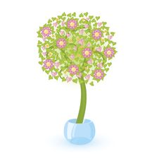 Tree With Pink Flowers Stock Photo