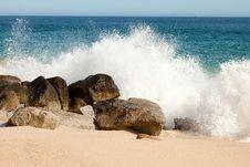 Free Sea Splashing Along Mexican Beach Stock Photos - 23854783