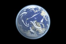 Free Earth Model With Black Royalty Free Stock Photography - 23855037