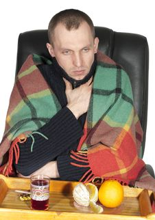 Free Sick Man Wrapped In A Blanket Stock Photos - 23856433