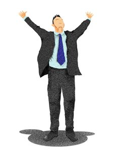 Free Excited Business Man With Arms Raised In Success Stock Images - 23863974