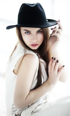 Vintage - Pretty Girl In Black Hat Closeup Stock Photos