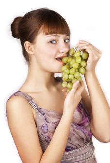 Free Red Pretty Woman Eating Grapes Isolated Stock Photo - 23869040