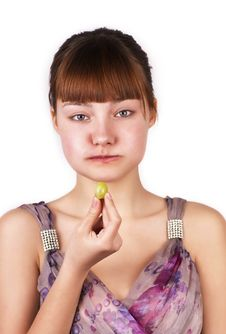Free Funny Cute Girl Eating Grapes Isolated Stock Photos - 23869293