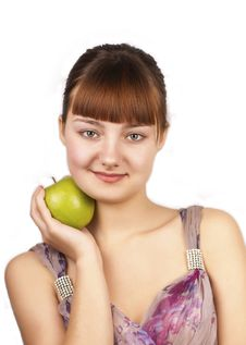 Free Young Happy Woman Holding An Apple Royalty Free Stock Photos - 23869508