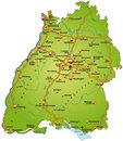 Free Map Of Baden-Wuerttemberg Royalty Free Stock Photography - 23877667