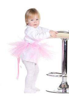 Little Girl In A Pink Tutu Standing Royalty Free Stock Photos