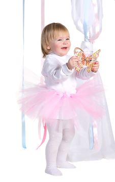 Girl In A Pink Tutu With Butterfly Royalty Free Stock Photos