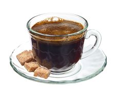 Free Cup Of Coffee With Brown Cane Sugar Royalty Free Stock Photo - 23878565