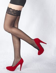 Woman S Legs In Black Stockings And High Heels Royalty Free Stock Image