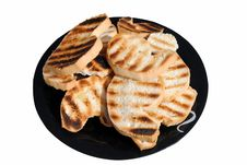 Free Grilled Slices Of Bread On A Dish Stock Images - 23878844