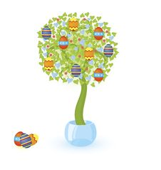 Tree With Easter Eggs Royalty Free Stock Photography