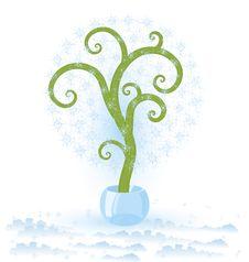 Free Tree With Snowflakes Royalty Free Stock Photos - 23879438