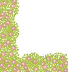 Decorative Corner Element With Pink Flowers Royalty Free Stock Images