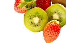 Kiwi And Strawberry Isolated Over White Royalty Free Stock Photos