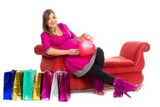 Pregnant Women In Pink Color Dresses Stock Photos