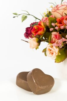 Free Chocolate Heart And Rose In The Valentine S Day Royalty Free Stock Images - 23884269