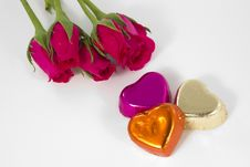 Free Chocolate Heart And Rose In The Valentine S Day Stock Image - 23884621