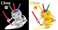 Free Cartoon  Glass For Pencil Checking  Close Stock Photo - 23884680