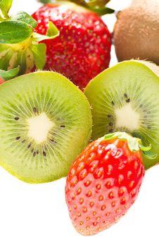 Kiwi And Strawberry Isolated Over White Background Stock Photo