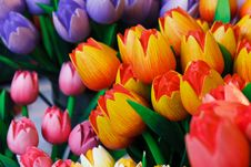 Free Colorful Wooden Tulips Royalty Free Stock Images - 23888639
