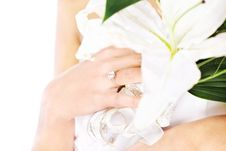 Free Hand Of A Bride With Ring And Flowers Stock Photography - 23888672