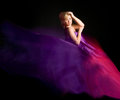 Free Beautiful Blonde In A Dress Made Of Fabric Flying Royalty Free Stock Images - 23893849