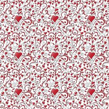 Free Seamless Background With Hearts Royalty Free Stock Images - 23894389