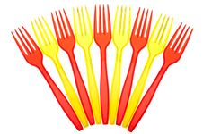 Free Disposable Tableware. Set Of Colored Plastic Forks Royalty Free Stock Image - 23895446