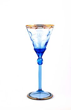 Free Blue Wine Glass For On White Background Royalty Free Stock Images - 23895779