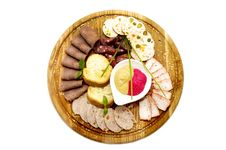Free Wooden Plate With Sausage Stock Images - 23895804