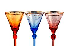 Free Color Glasses For Wine On A White Backgr Royalty Free Stock Photo - 23895815